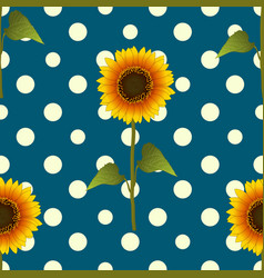 Sunflower on yellow polka dots blue teal vector