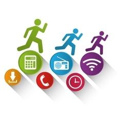 Wearable technology fitness technology app media vector