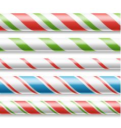xmas candy cane horizontal seamless vector image vector image