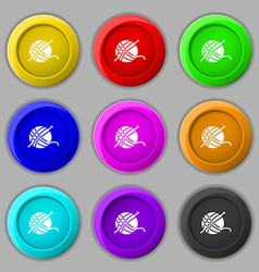 Yarn ball icon sign symbol on nine round colourful vector