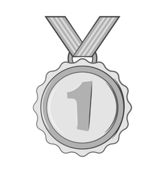 Medal for first place icon black monochrome style vector