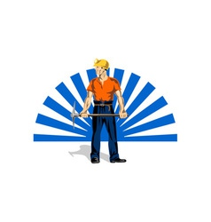 Coal miner with pick axe vector