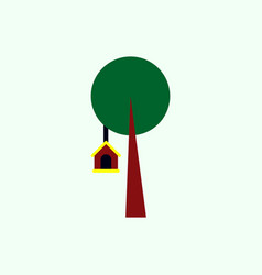 Bird house on tree vector