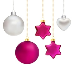 Christmas decorations in silver and magenta vector image