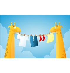 Cartoon giraffes doing laundry vector