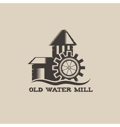 Old water mill vintage vector