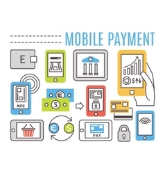 Mobile banking online payments thin line flat vector