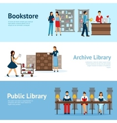 Library horizontal banners set vector