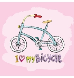 I love my bicycle concept design vector