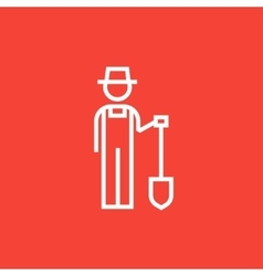Farmer with shovel line icon vector