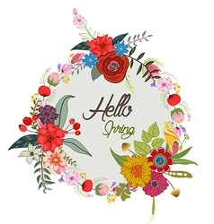 Hello with cute floral wreath calligraphy letter vector