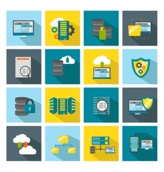 Colored square datacenter icon set vector