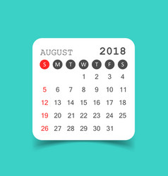 August 2018 calendar calendar sticker design vector