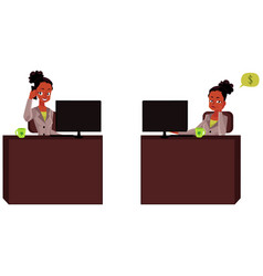 Black african businesswoman secretary talking by vector