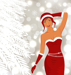 Christmas beautiful disco diva holiday background vector image