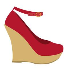 Color silhouette of high heel platform shoe vector