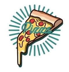 Color vintage pizza emblem vector image vector image