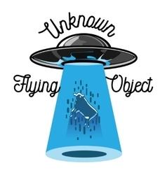 Color vintage ufo emblem vector