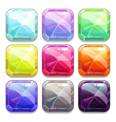 Colorful crystal square buttons vector