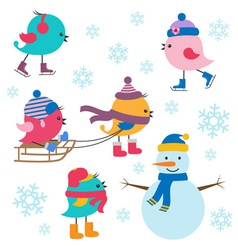 Cute birds winter vector image