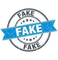 Fake blue round grunge vintage ribbon stamp vector