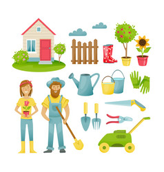 farmers in suburban area materials clothing vector image