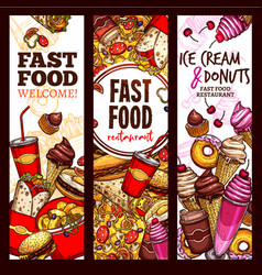 Fast food restaurant sketch banner menu flyer set vector