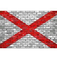 Flag of Alabama on a brick wall vector image vector image