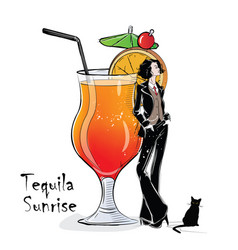 Hand drawn of cocktail with girl vector