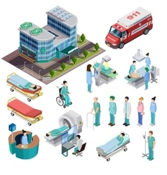 Hospital Isometric Isolated Icons vector image