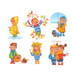 i love autumn walk on outdoors vector image vector image