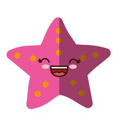 Kawaii sea star icon vector