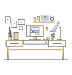 line art workplace in flat style vector image