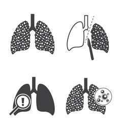 lungs cancer icons set vector image vector image