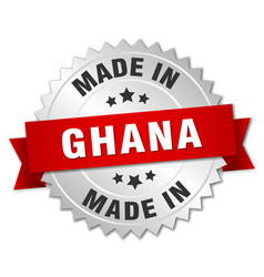 Made in ghana silver badge with red ribbon vector