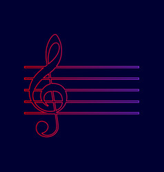 Music violin clef sign g-clef line icon vector