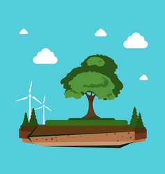 Nature landscape with wind turbine alternative vector