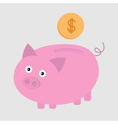 Piggy bank and dollar coin card vector