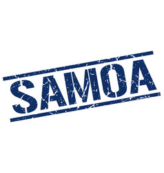 Samoa blue square stamp vector