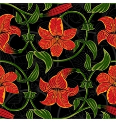 seamless pattern with lily flowers on dark vector image vector image