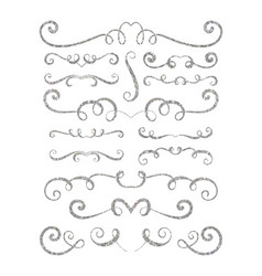 set of silver textured hand drawn vignettes vector image vector image