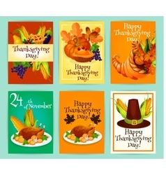 Thanksgiving Day greeting cards posters placards vector image vector image