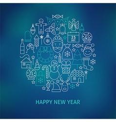 Thin Line Happy New Year Holiday Icons Set Circle vector image