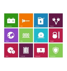 Tools icons on color background vector