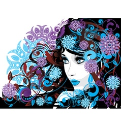 Winter Girl with Floral5 vector image