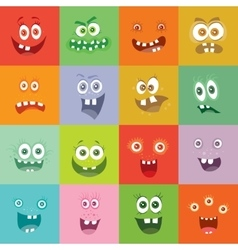 Smiling monsters set happy germ smile characters vector
