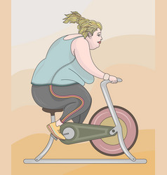 Fat woman training vector