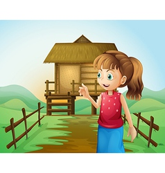 A woman in front of the nipa hut in the farm vector