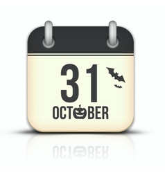 Halloween calendar icon with reflection 31 october vector