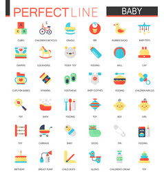 set of flat baby care toy clothes and vector image
